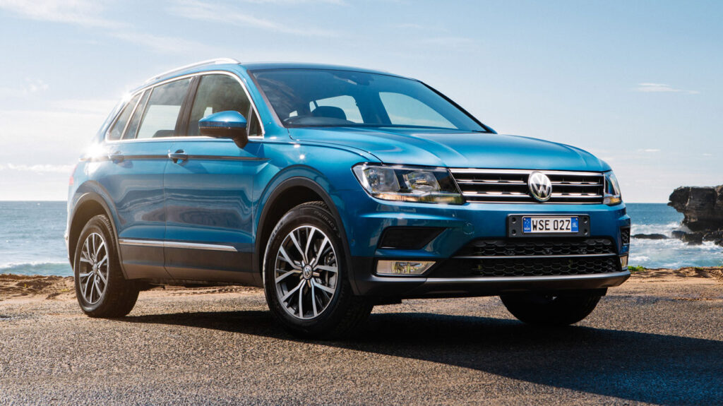 The Volkswagen Tiguan will fit three child seats across the middle row
