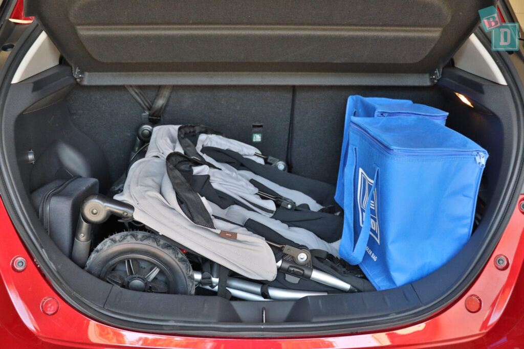 2021 Nissan Leaf e+ boot space for twin side by side stroller pram and shopping with two rows of seats in use