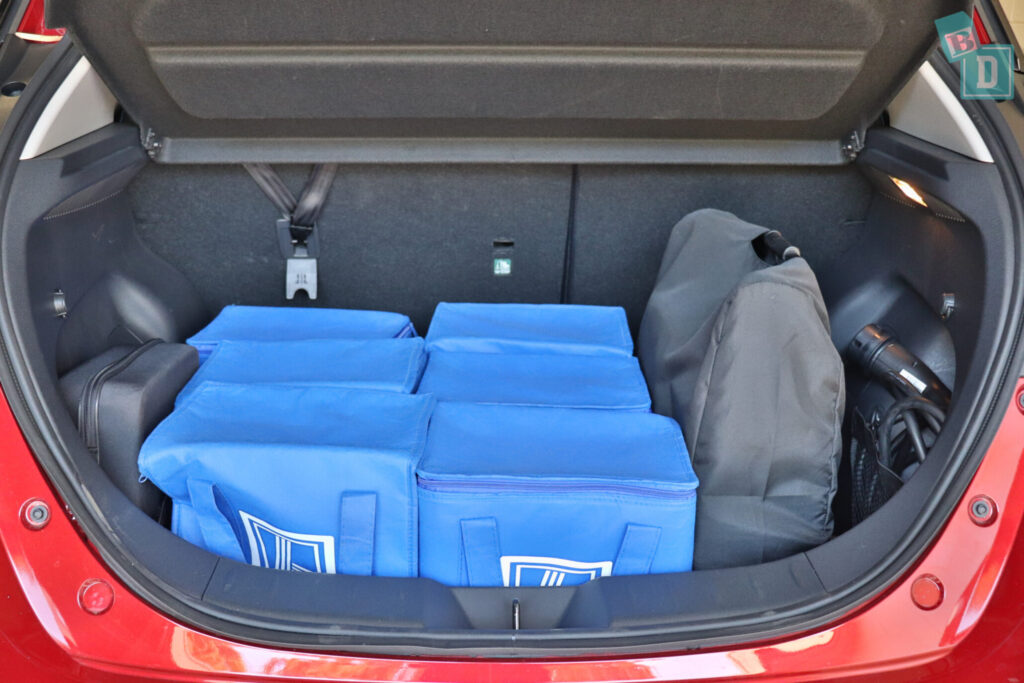 2021 Nissan Leaf e+ boot space for shopping with compact pram if two rows of seats are in use