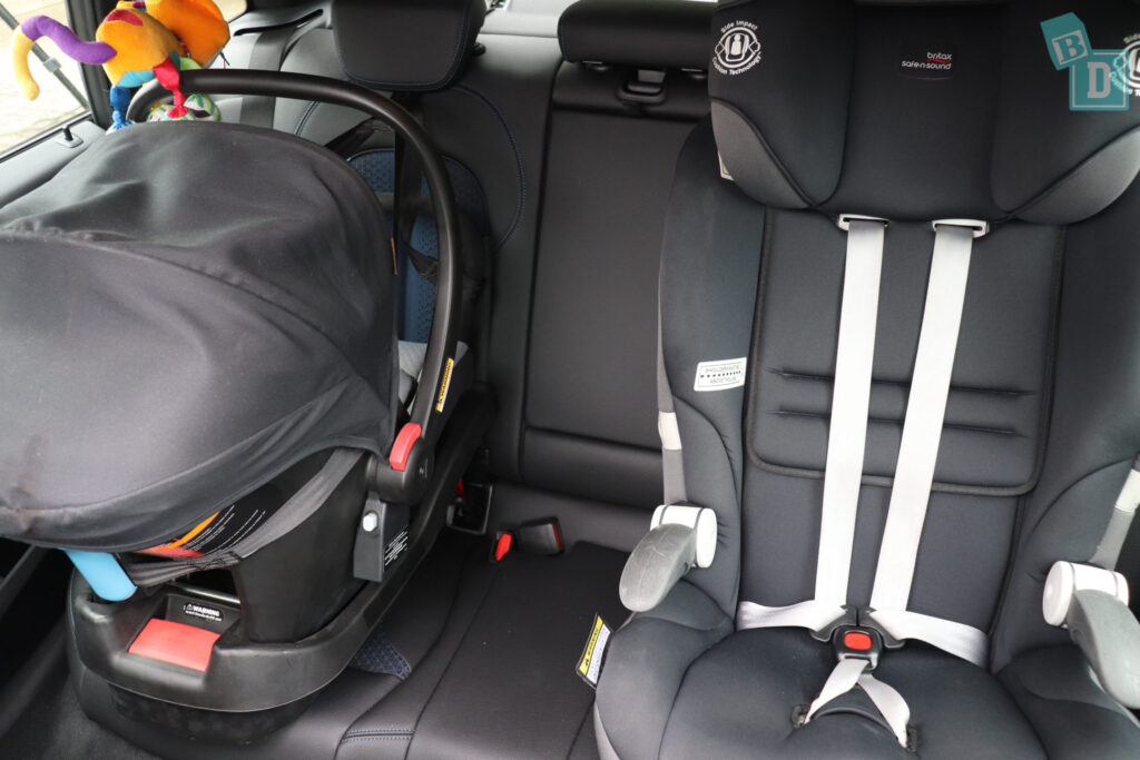 2020 BMW2 Series Gran Coupe 218i with two child seats installed; a baby capsule and forward-facing car seat