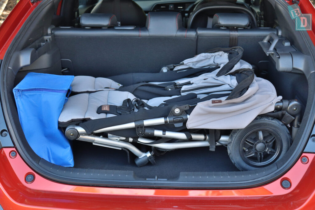 2020 Honda Civic RS Hatch with twin stroller in the boot