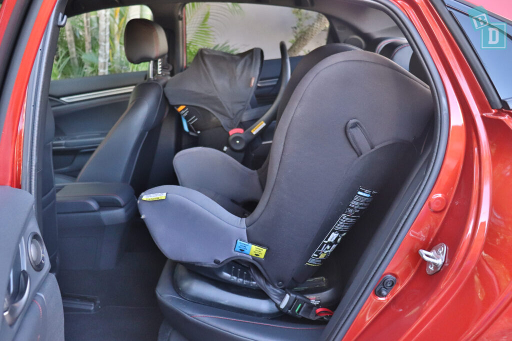 2020 Honda Civic RS Hatch legroom with two child seats installed