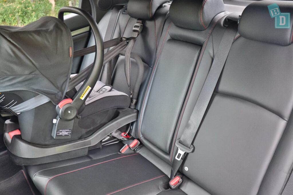 2020 Honda Civic RS Hatch with rear-facing infant capsule child seat installed