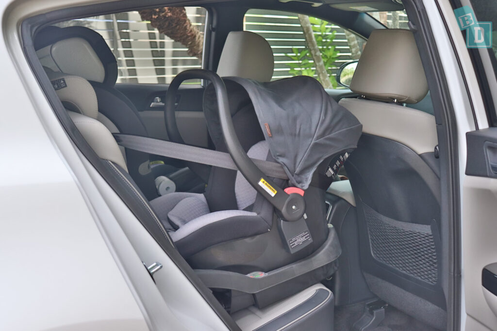 2020 Kia Sportage GT Line legroom with baby capsule seat installed