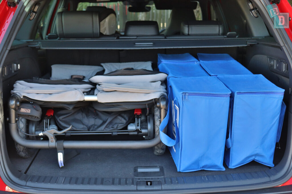 Skoda Kodiaq Sportline 2020 boot space with twin stroller and shopping with two rows of seats in use