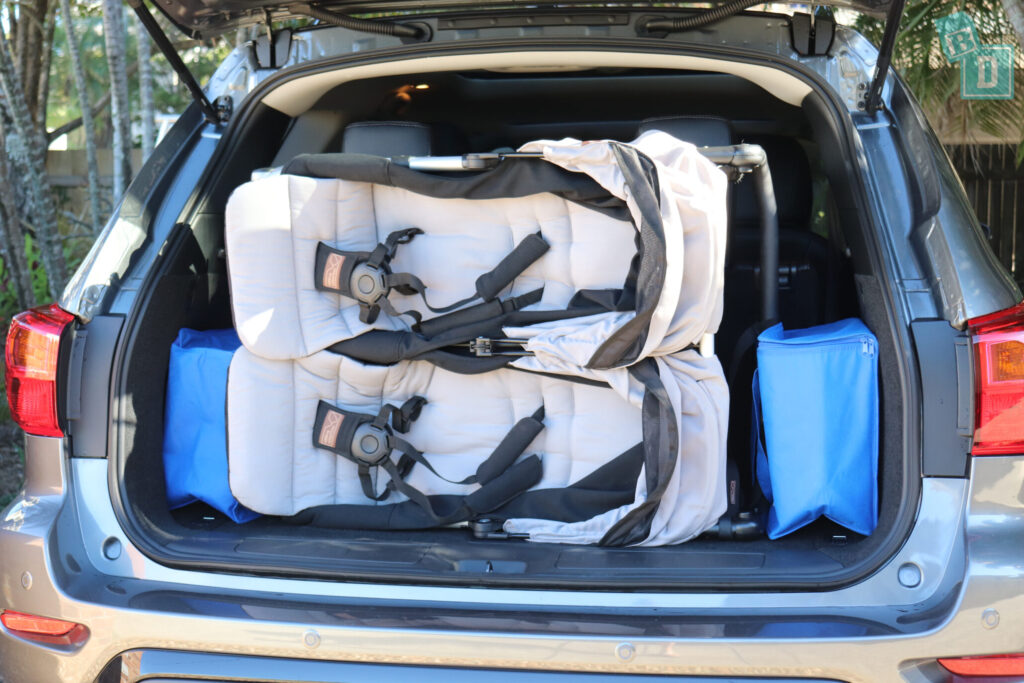 NISSAN PATHFINDER N-TREK 2020 can fit a twin side by side stroller in the boot