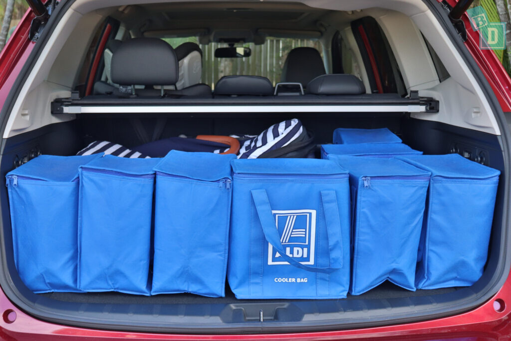 Subaru Forester Hybrid 2020 boot space with shopping and single stroller pram