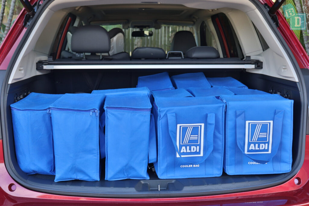 Subaru Forester Hybrid 2020 boot space with shopping and compact stroller pram
