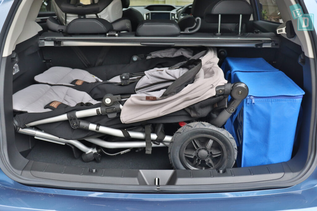 Subaru Impreza 2020 2.0i-S boot space with twin side by side stroller pram and shopping