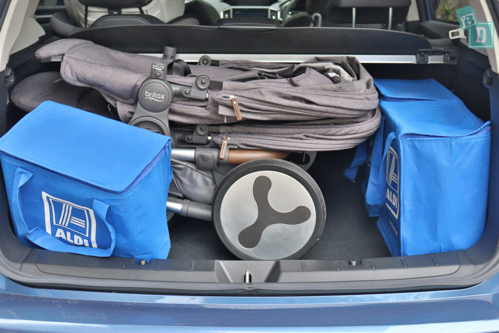 Subaru Impreza 2020 2.0i-S boot space with tandem stroller pram and shopping
