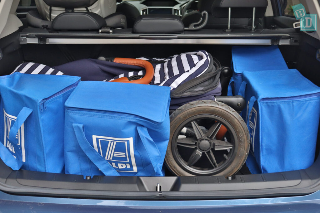 Subaru Impreza 2020 2.0i-S boot space with single stroller pram and shopping