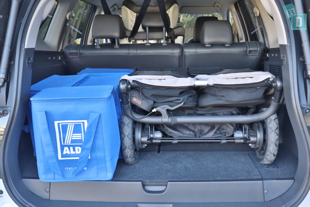 MITSUBISHI PAJERO SPORT boot space for twin side by side stroller pram with shopping bags with two seating rows in use