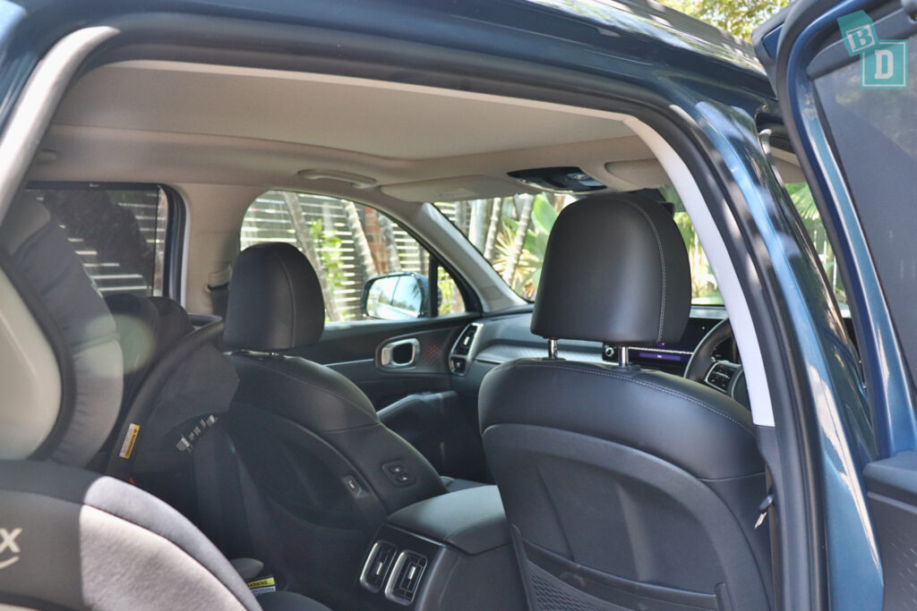 2021 Kia Sorento Sport and GT-Line with child seats installed in the second row