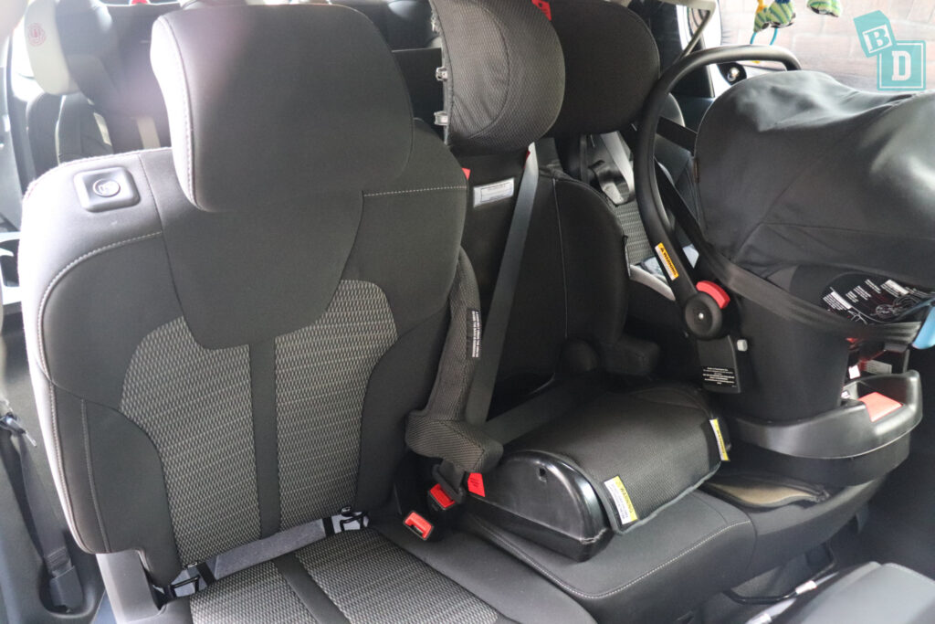 2021 Kia Sorento Sport and GT-Line third row access with child seats installed in the second row