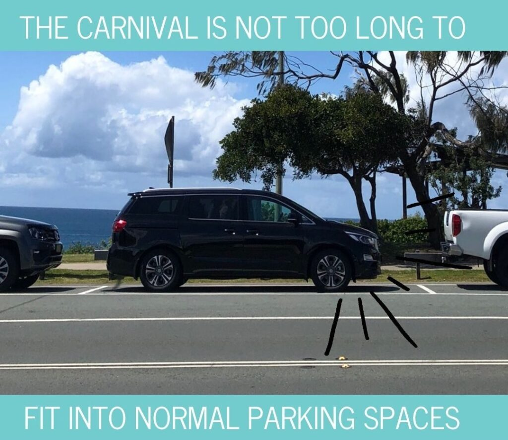 Kia Carnival fits into normal car parking spaces