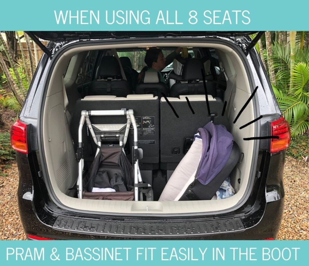 Kia Carnival boot space when using all 8 seats