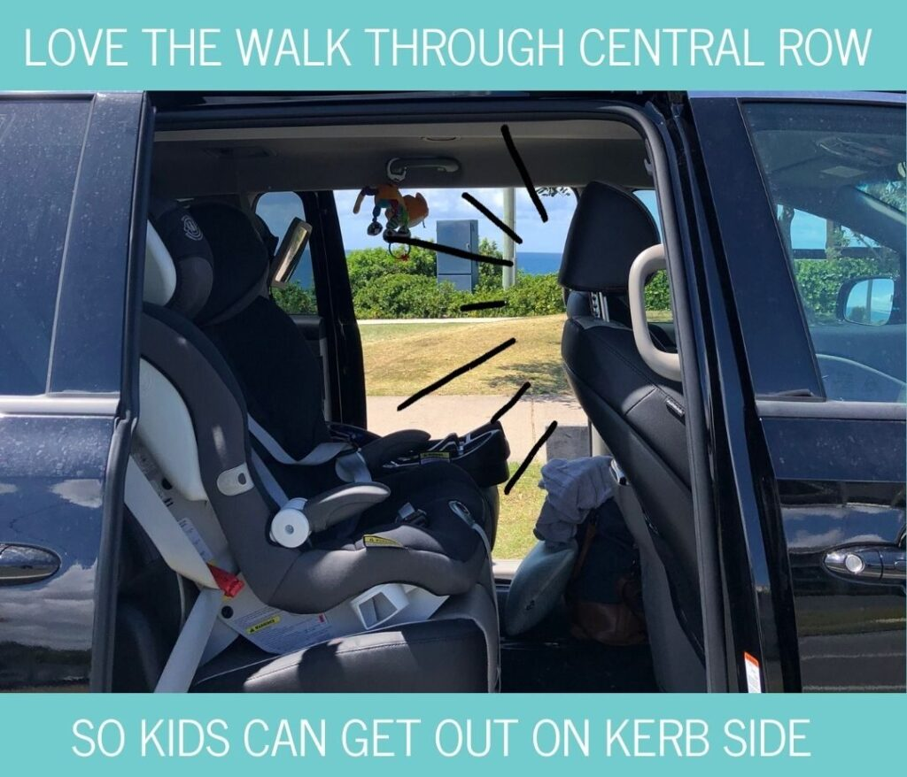 Kia Carnival second row space with child seats installed