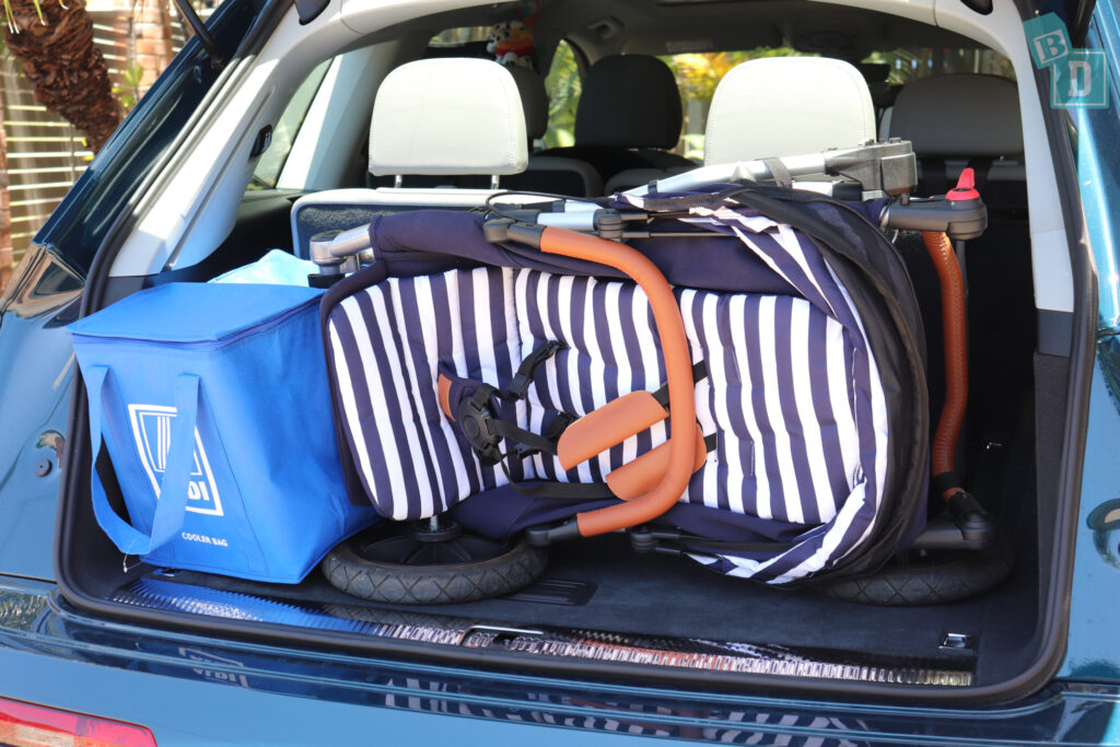 2021 Audi Q7 boot space for single stroller pram and shopping with third row in use