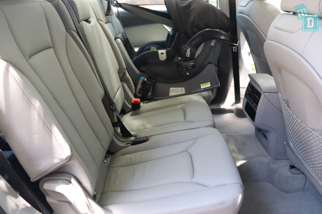 2021 Audi Q7 legroom with rear facing infant capsule child seats in the second row