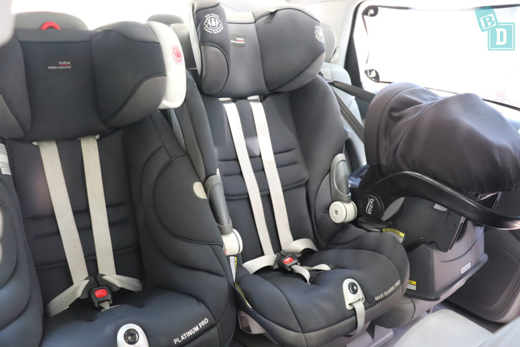 2021 Audi Q7 second row with three child seats installed