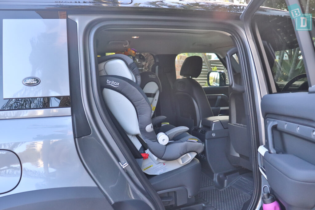 2021 Land Rover Defender 110 legroom with three child seats installed in the second row