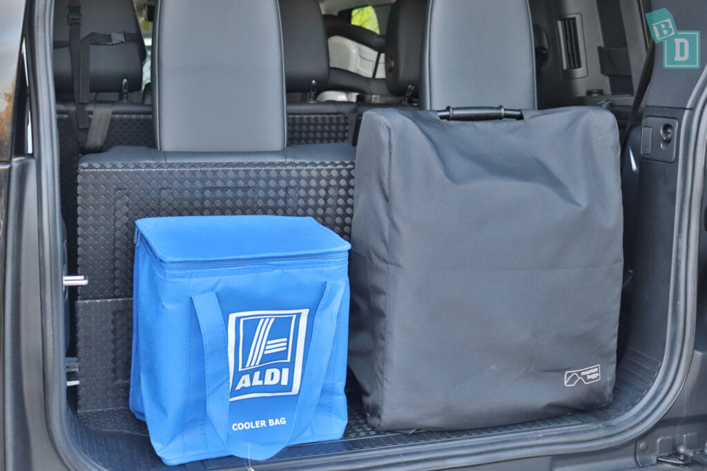 2021 Land Rover Defender 110 boot space for shopping and compact stroller when third row is in use