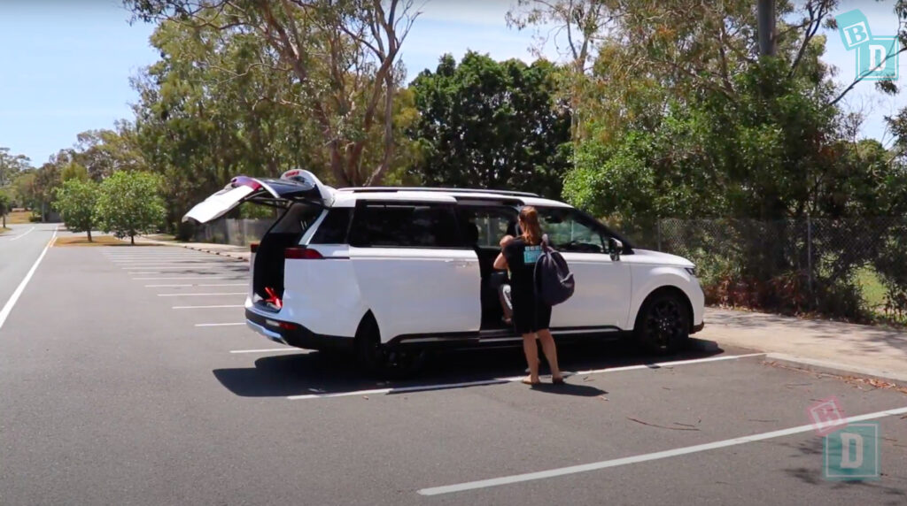 2021 Kia Carnival Platinum KA4 with side doors and boot open
