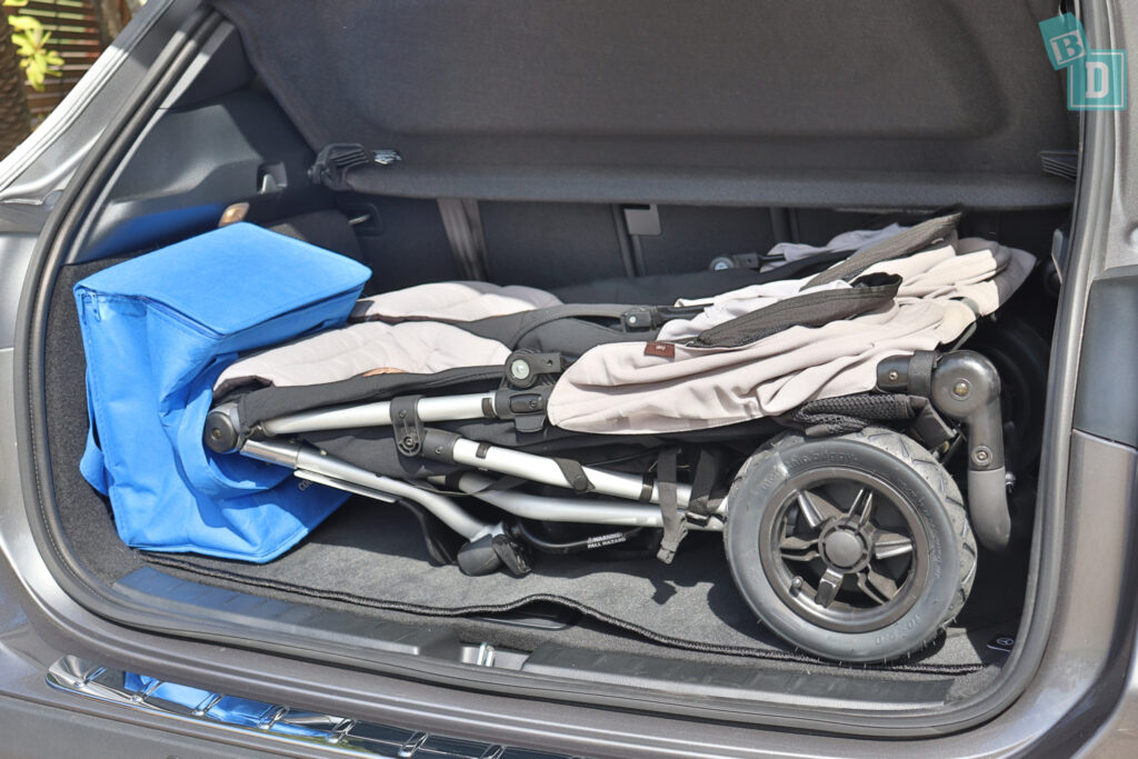 2021 Mercedes-Benz GLA 250 boot space with twin side by side stroller and shopping