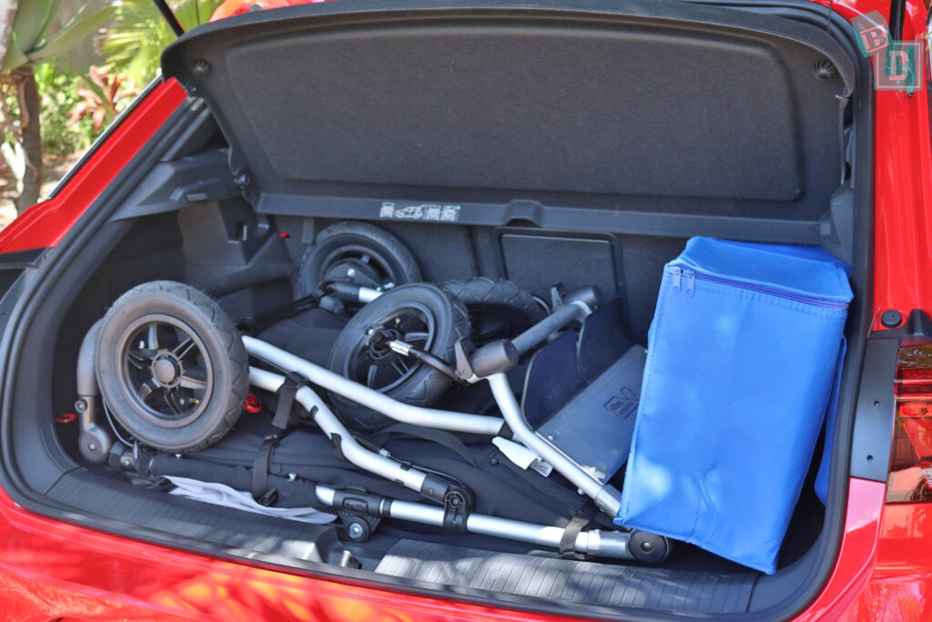 2021 Volkswagen T-Roc Sportline boot space for twin side by side stroller pram and shopping with two rows of seats in use