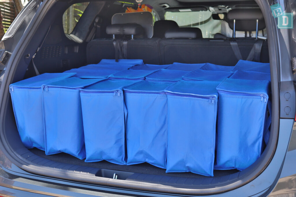2021 Hyundai Santa Fe Highlander boot space for shopping with two rows of seats in use