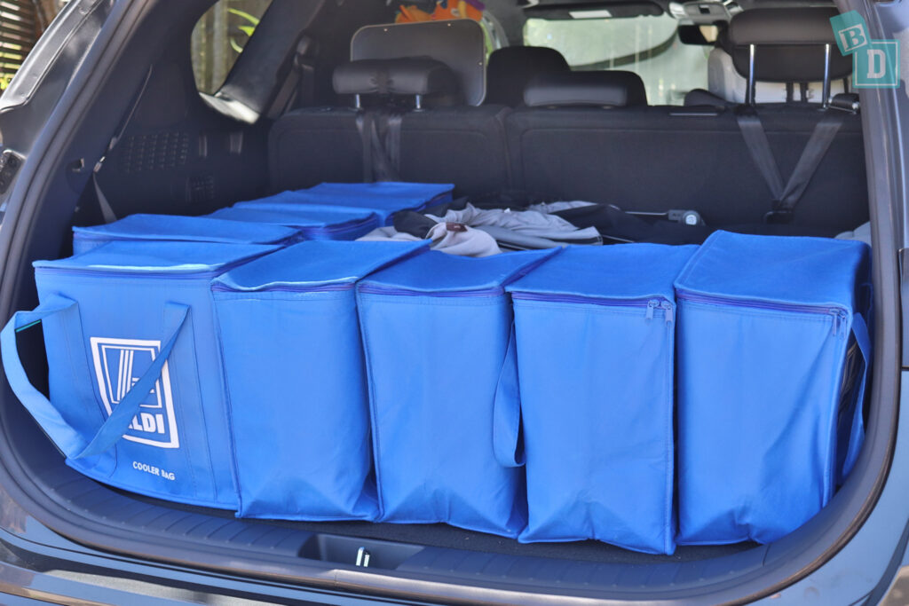 2021 Hyundai Santa Fe Highlander boot space for twin side by side stroller pram and shopping with two rows of seats in use