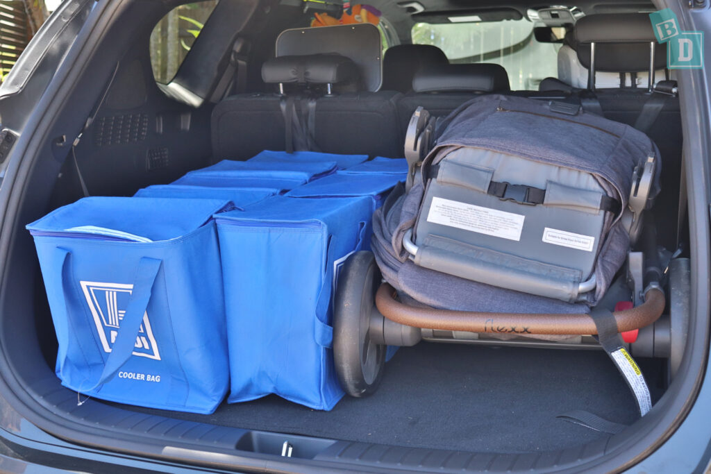 2021 Hyundai Santa Fe Highlander boot space for shopping with tandem stroller pram if two rows of seats are in use