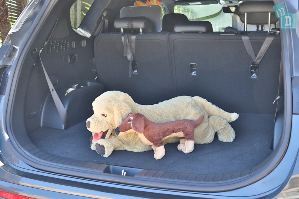2021 Hyundai Santa Fe Highlander boot space for dogs with two rows of seats in use