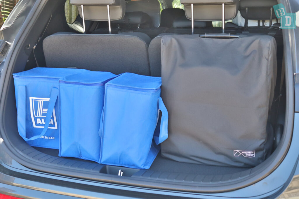 2021 Hyundai Santa Fe Highlander boot space for compact stroller pram shopping with all three rows in use