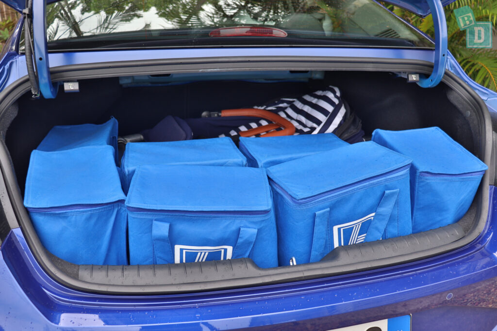2021 Hyundai i30 boot space for single stroller pram and shopping with two rows of seats in use