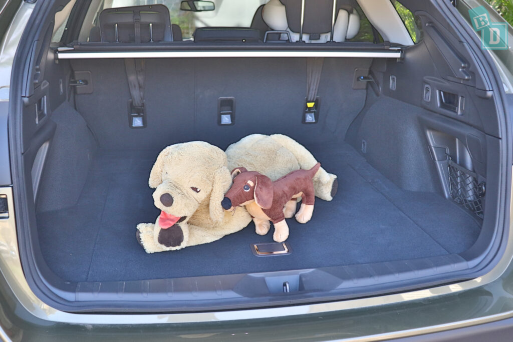 2021 Subaru Outback boot space for dogs with two rows of seats in use