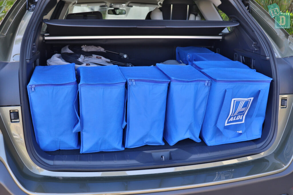 2021 Subaru Outback boot space for twin side by side stroller pram and shopping with two rows of seats in use