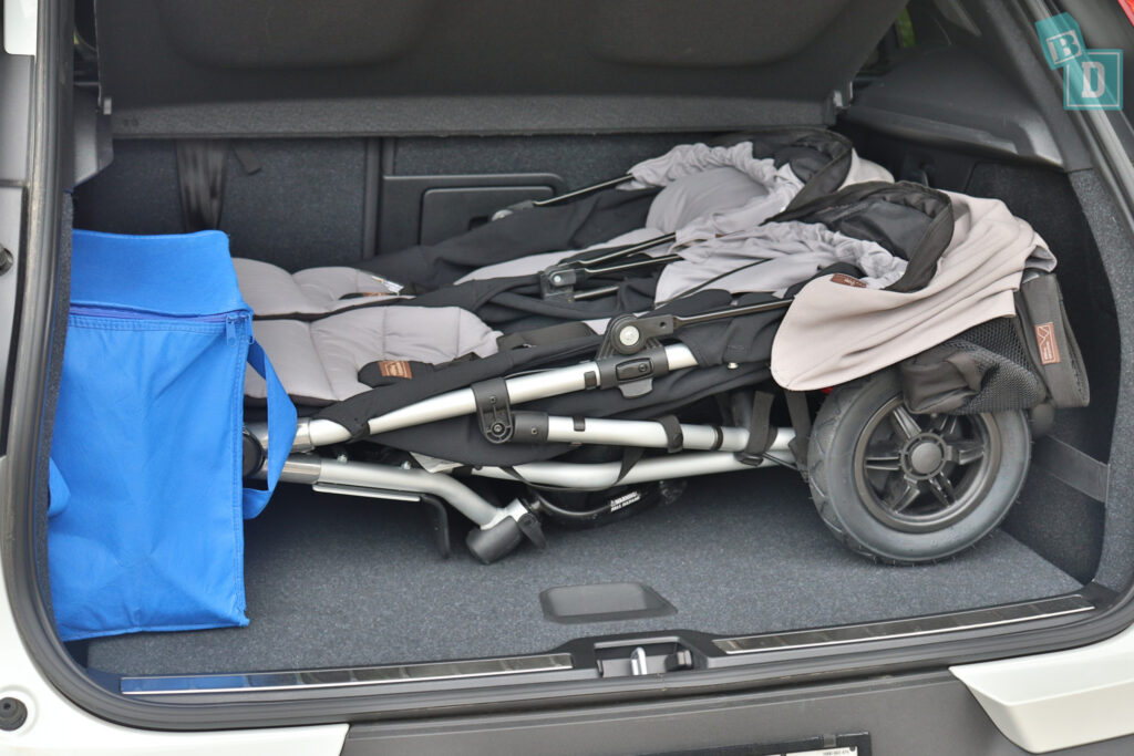2021 VOLVO XC40 PHEV boot space for twin side by side stroller pram and shopping with two rows of seats in use