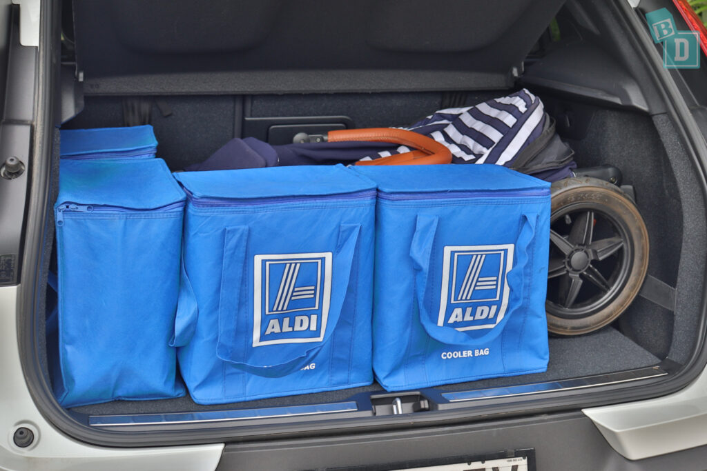 2021 VOLVO XC40 PHEV boot space for single stroller pram and shopping with two rows of seats in use