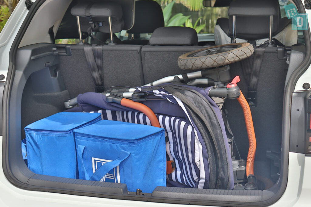 2021 Volkswagen T-Cross 85 TSI Life boot space for single stroller pram and shopping with two rows of seats in use