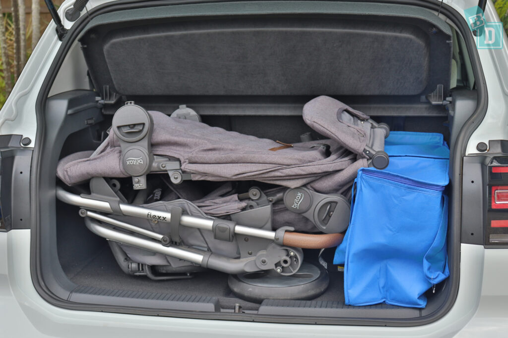2021 Volkswagen T-Cross 85 TSI Life boot space for shopping with tandem stroller pram if two rows of seats are in use