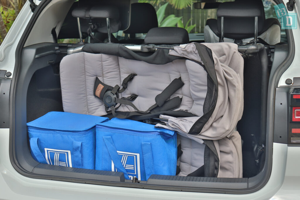 2021 Volkswagen T-Cross 85 TSI Life boot space for twin side by side stroller pram and shopping with two rows of seats in use