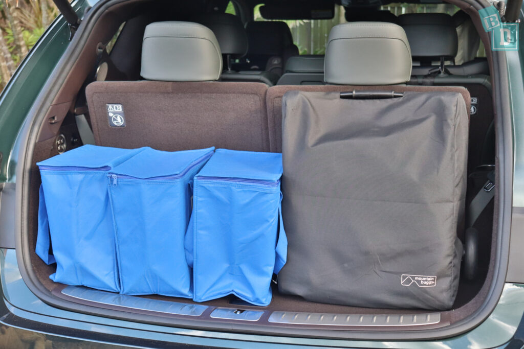 2021 Genesis GV80 boot space for compact stroller pram and shopping with all three rows in use