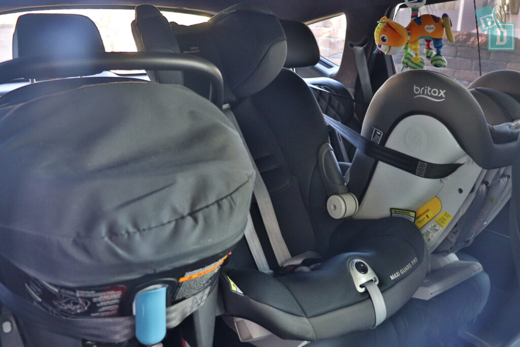 2021 Genesis GV80 with three child seats installed in the second row