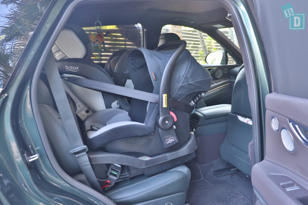 2021 Genesis GV80 legroom with rear-facing child seats installed in the second row