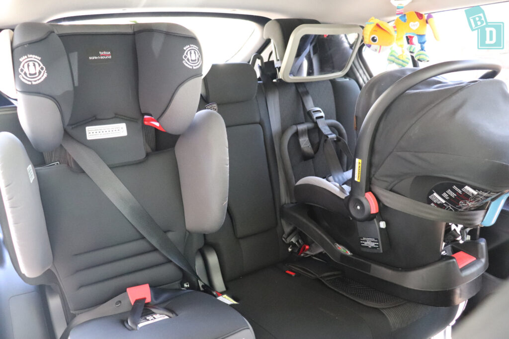 2021 Mitsubishi Eclipse Cross with two child seats installed in the second row