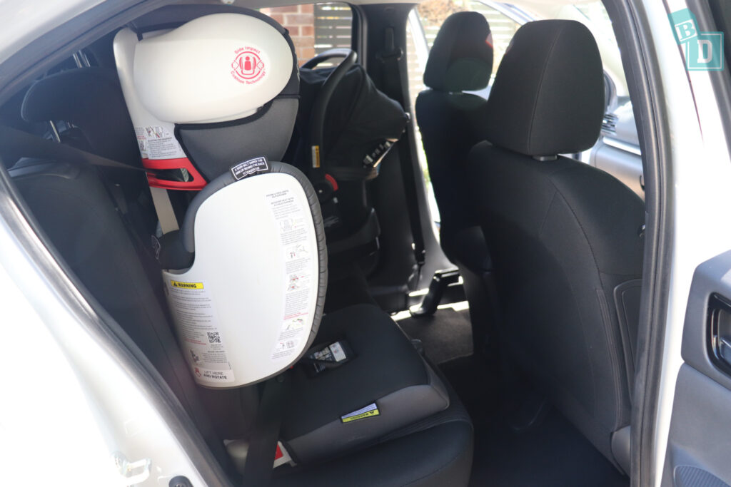 2021 Mitsubishi Eclipse Cross legroom with forward-facing child seats installed in the second row