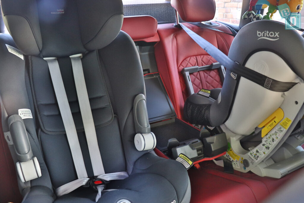 2021 Audi S4 Avant with two child seats installed in the second row