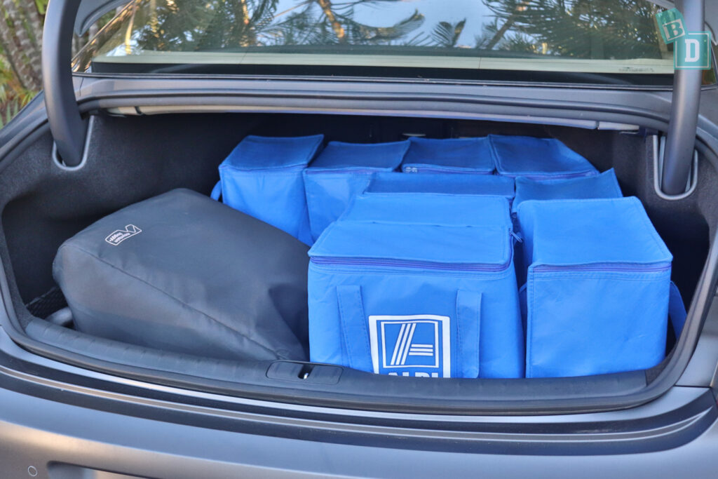 2021 Genesis G80 boot space for shopping with compact pram if two rows of seats are in use
