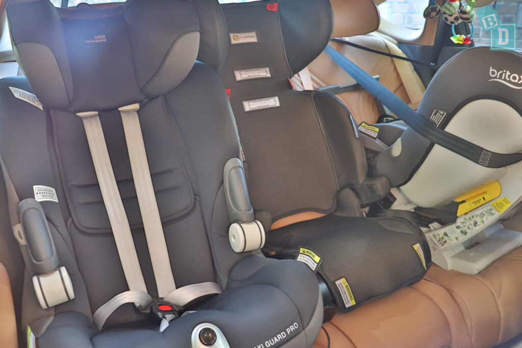 2021 Genesis G80 with three child seats installed in the second row